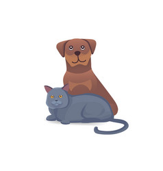 cat and dog together cute characters cartoon vector image vector image