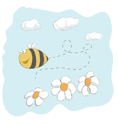 Cute bee flying around flowers vector image vector image