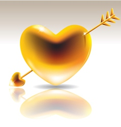 Golden heart with arrow vector image vector image