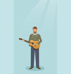 guitarist with musical instrument standing alone vector image
