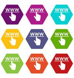 hand cursor and website icon set color hexahedron vector image