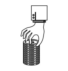 Hand human with coin vector