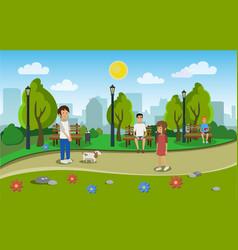 landscape of the city park vector image