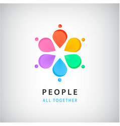 Abstract people in circle logo global vector