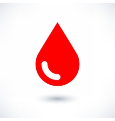 Blood red drop icon with gray shadow on white vector image vector image