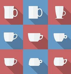 Icon Set of cups Flat style vector image vector image