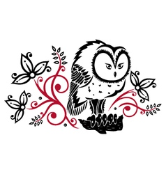 Owls floral vector image vector image