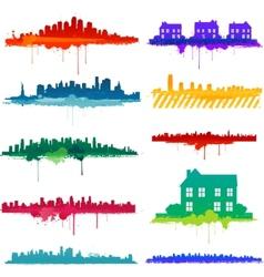 Paint splat city design vector