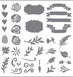 Set of plant elements for design vector image