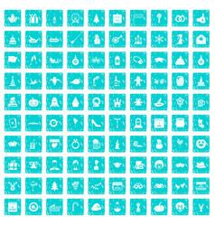 100 holidays icons set grunge blue vector image vector image