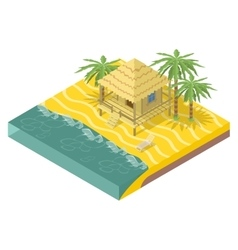 Beach real estate House with palm trees vector image