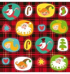 Christmas set plaid tartan pattern background vector