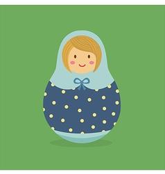 Cute Russian Doll Blue Polkadot vector image