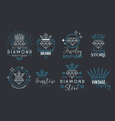 jewelry logo set for jewelry stor vector image