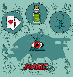 magic flat concept icons vector image