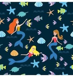 Pattern with cartoon mermaid vector image vector image