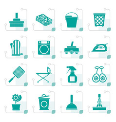 stylized household objects and tools icons vector image vector image