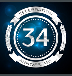 thirty four years anniversary celebration with vector image
