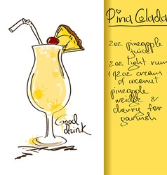 with Pina Colada cocktail vector image vector image