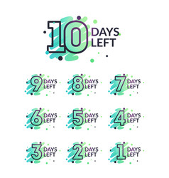 10 to 1 days left counter colorful brush element vector