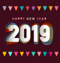 2019 happy new year greeting card design with vector image