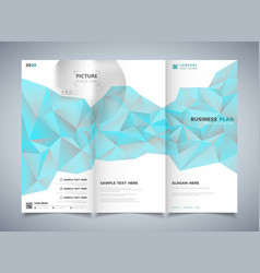 abstract polygon blue color of brochure template vector image