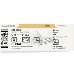 Airline boarding pass tickets to plane for travel vector