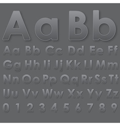 Alphabet pseudo 3d letters on dark gray vector