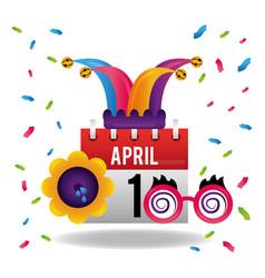 april 1 calendar jester hat glasses and flower vector image