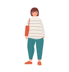 Attractive plus size woman flat vector
