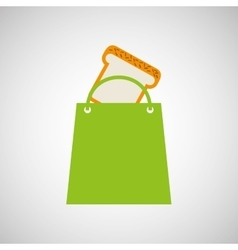 Bag shopping food icon sliced bread vector