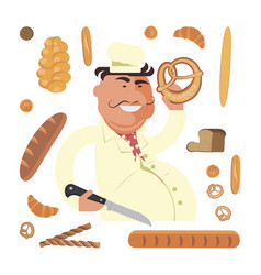 bakery seller character vector image