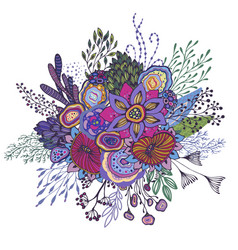 Beautiful fantasy bouquet with hand drawn flowers vector