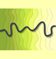 Beautiful winding road on a mountain slope vector