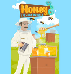 Beekeeper gathers honey apiary farm and dipper vector