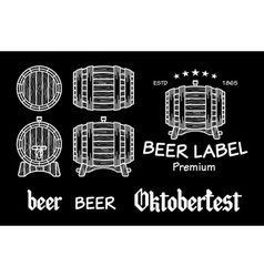 beer set elements chalkboard octoberfest vector image