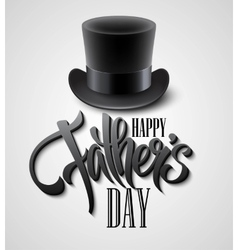 Black top hat isolated on white with text happy vector image
