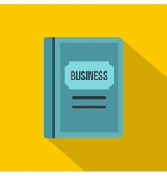 Blue business book icon flat style vector