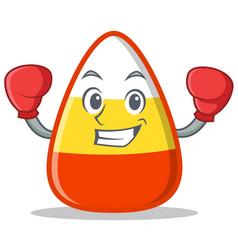 Boxing candy corn character cartoon vector