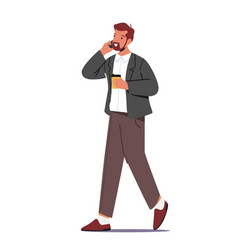 Business man drinking coffee from disposable cup vector
