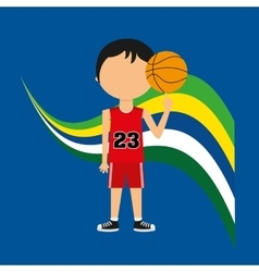 cartoon basketball player brazilian label vector image