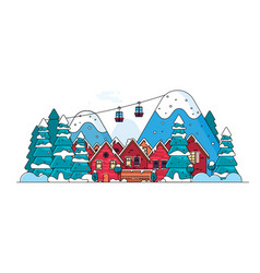 cartoon snow home and rural cottages set vector image