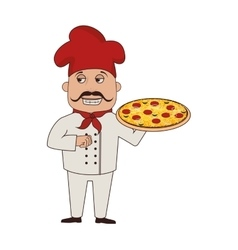 Chef pizza character icon vector