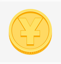 Chinese yuan or japanese yen symbol on gold coin vector