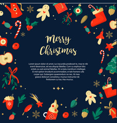 christmas bright background with holiday elements vector image