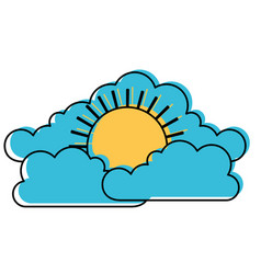 cloud cumulus and sun flat icon in watercolor vector image