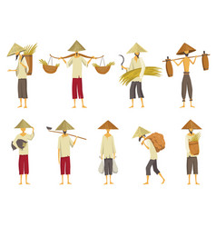 Collection of asian farmers in straw conical hata vector