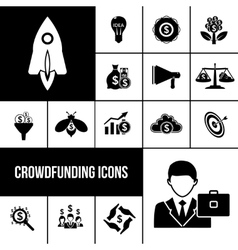 Crowdfunding icons black set vector