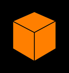 cube sign orange icon on black vector image