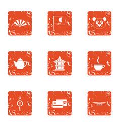 Custom icons set grunge style vector